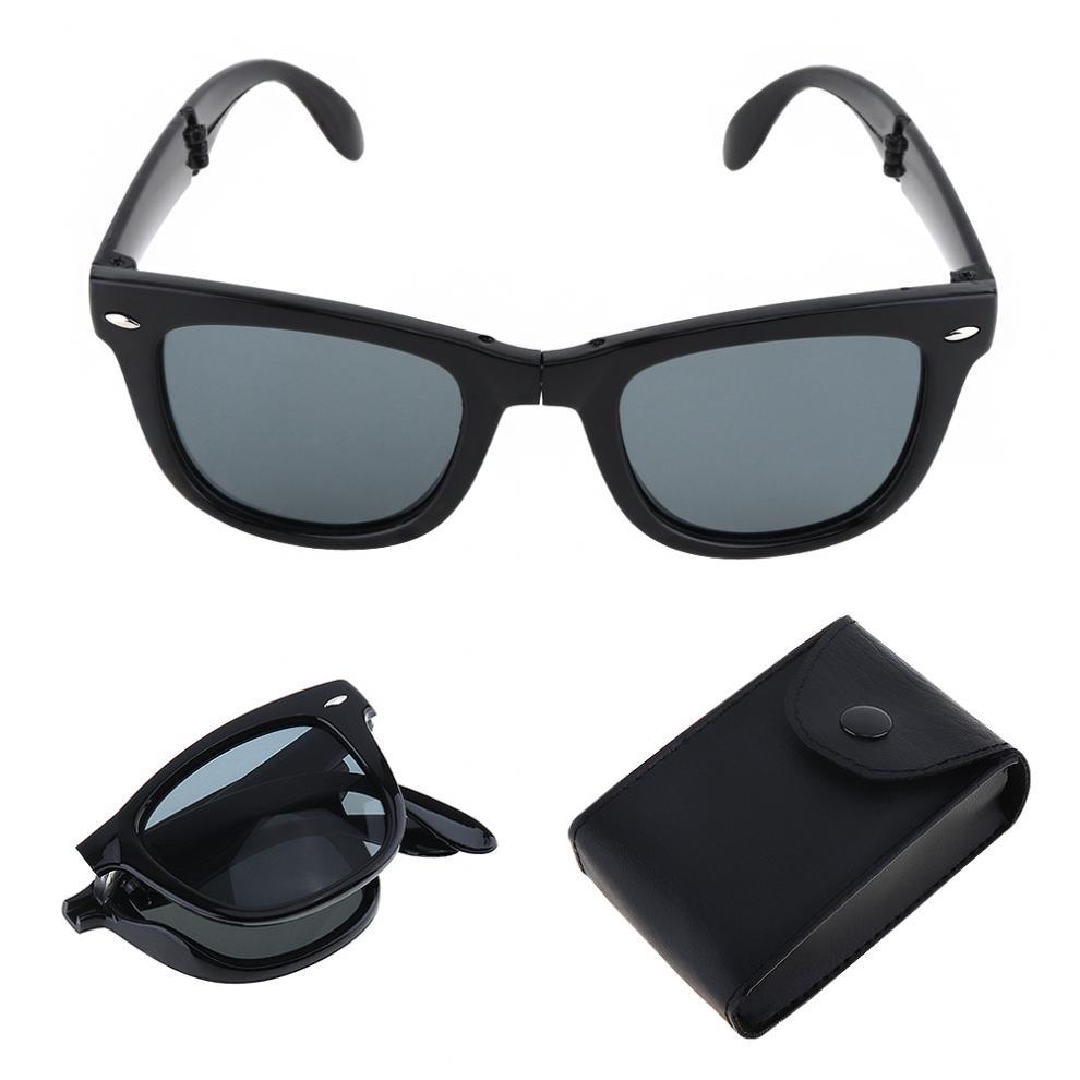 Portable Folding Sunglasses Unisex Mirrored UV400 Mens Ladies Goggle with Case