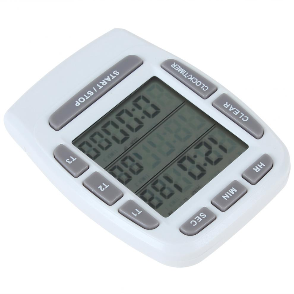 LCD Alarm Timer with Triple Display 3-Line Cooking Timer Countdown Stopwatch