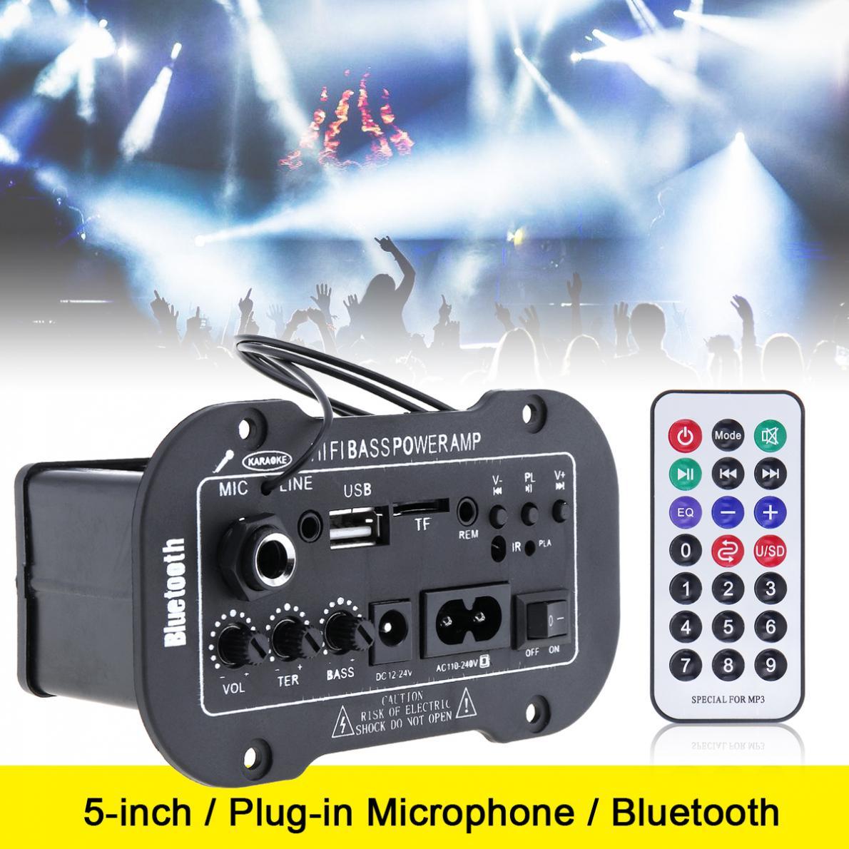 Car Bluetooth HiFi AMP Stereo Amplifier FM Radio MIC MP3 USB SD Player w// Remote