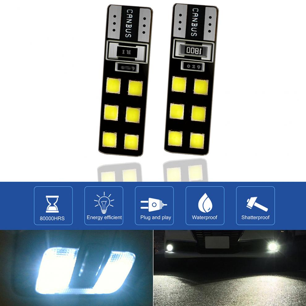 2x W5W T10 CANBUS ERROR FREE WHITE 12 SMD LED SIDELIGHT BULBS LAMP SUPER BRIGHT