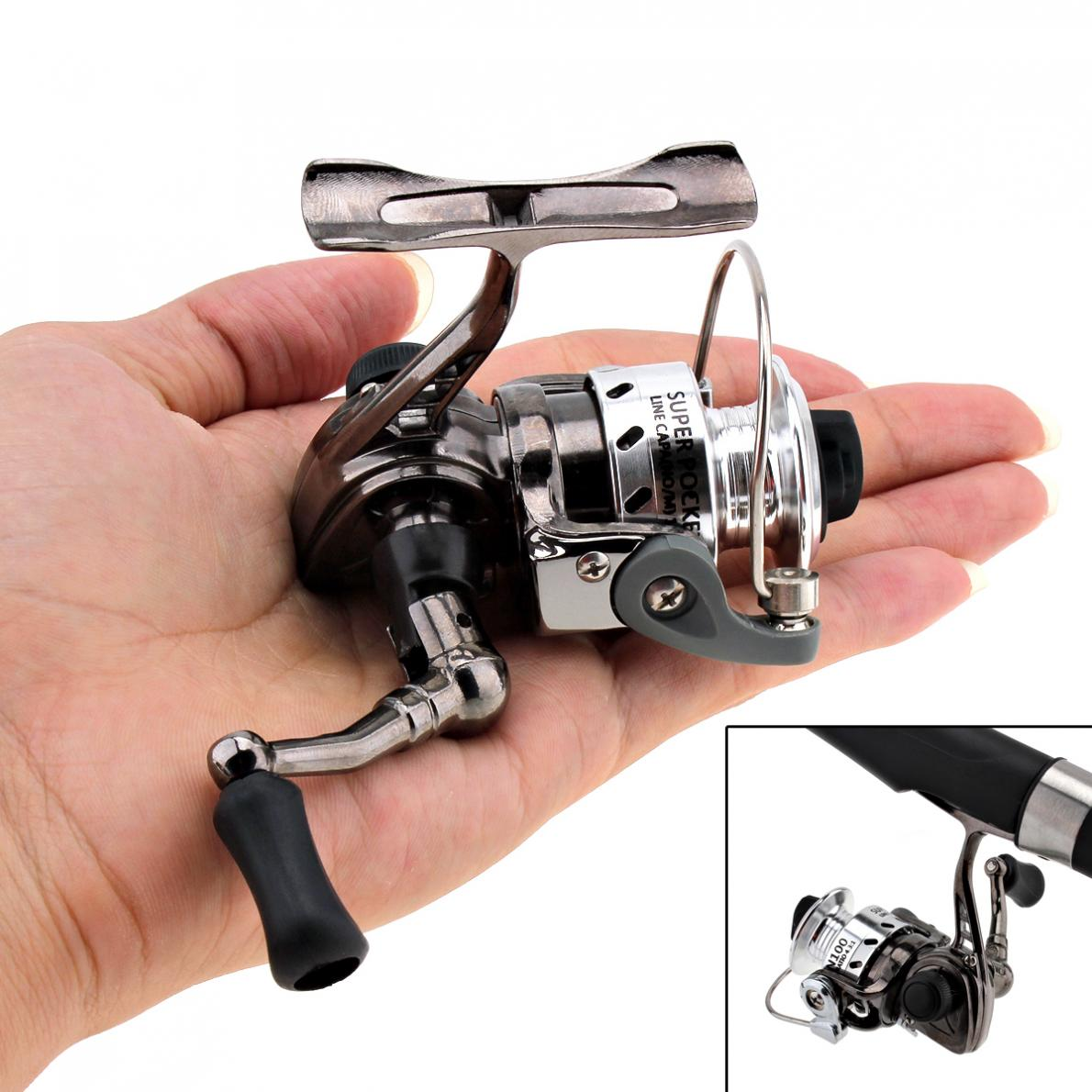 Mini spinning fishing reel 4.3:1 ultra-light Metal Coil Poke