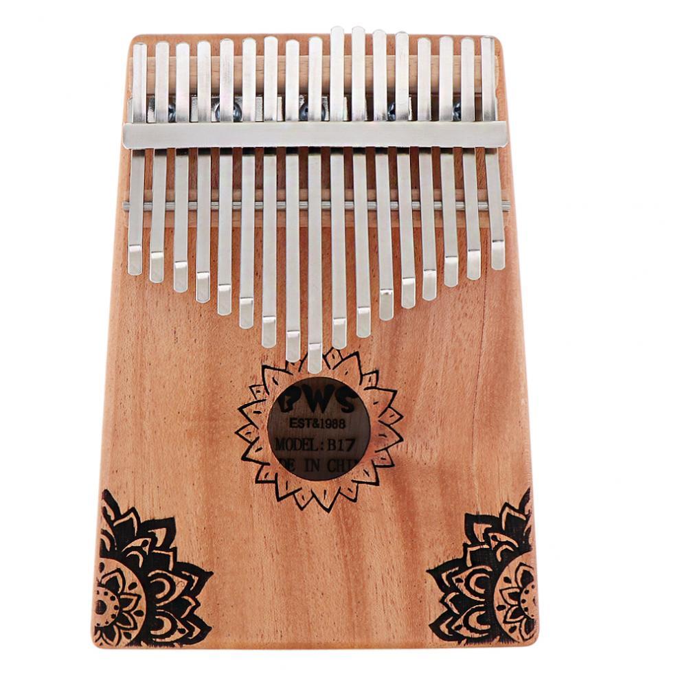 17-Key-Kalimba-Thumb-Piano-Mbira-Mahogany-Mini-Keyboard-Instrument-with-Flowers thumbnail 2