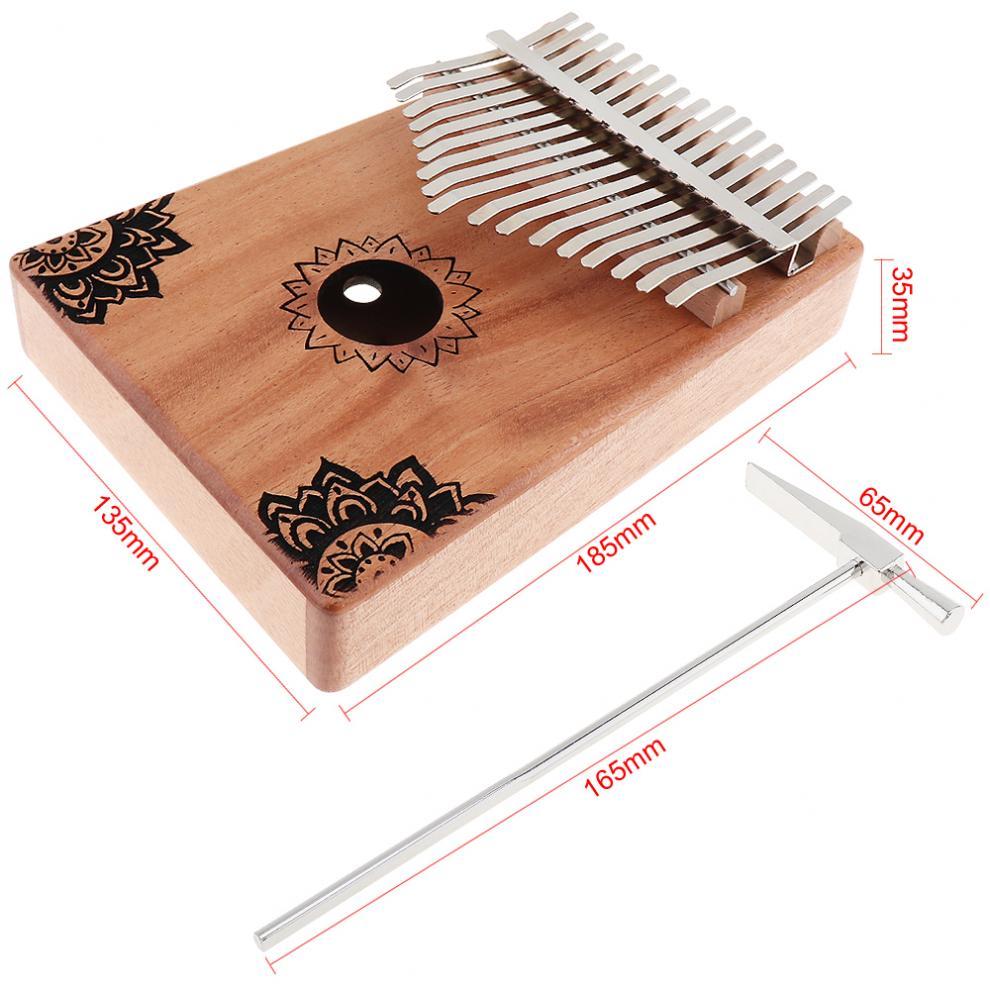 17-Key-Kalimba-Thumb-Piano-Mbira-Mahogany-Mini-Keyboard-Instrument-with-Flowers thumbnail 11