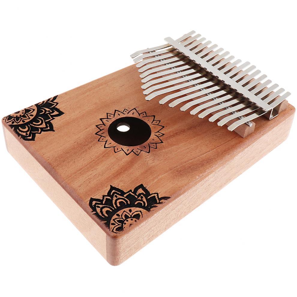 17-Key-Kalimba-Thumb-Piano-Mbira-Mahogany-Mini-Keyboard-Instrument-with-Flowers thumbnail 3