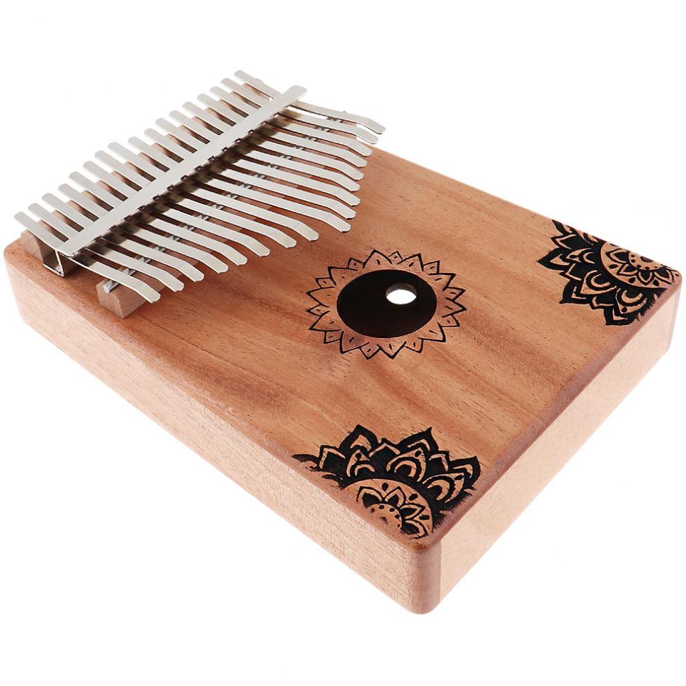 17-Key-Kalimba-Thumb-Piano-Mbira-Mahogany-Mini-Keyboard-Instrument-with-Flowers thumbnail 4