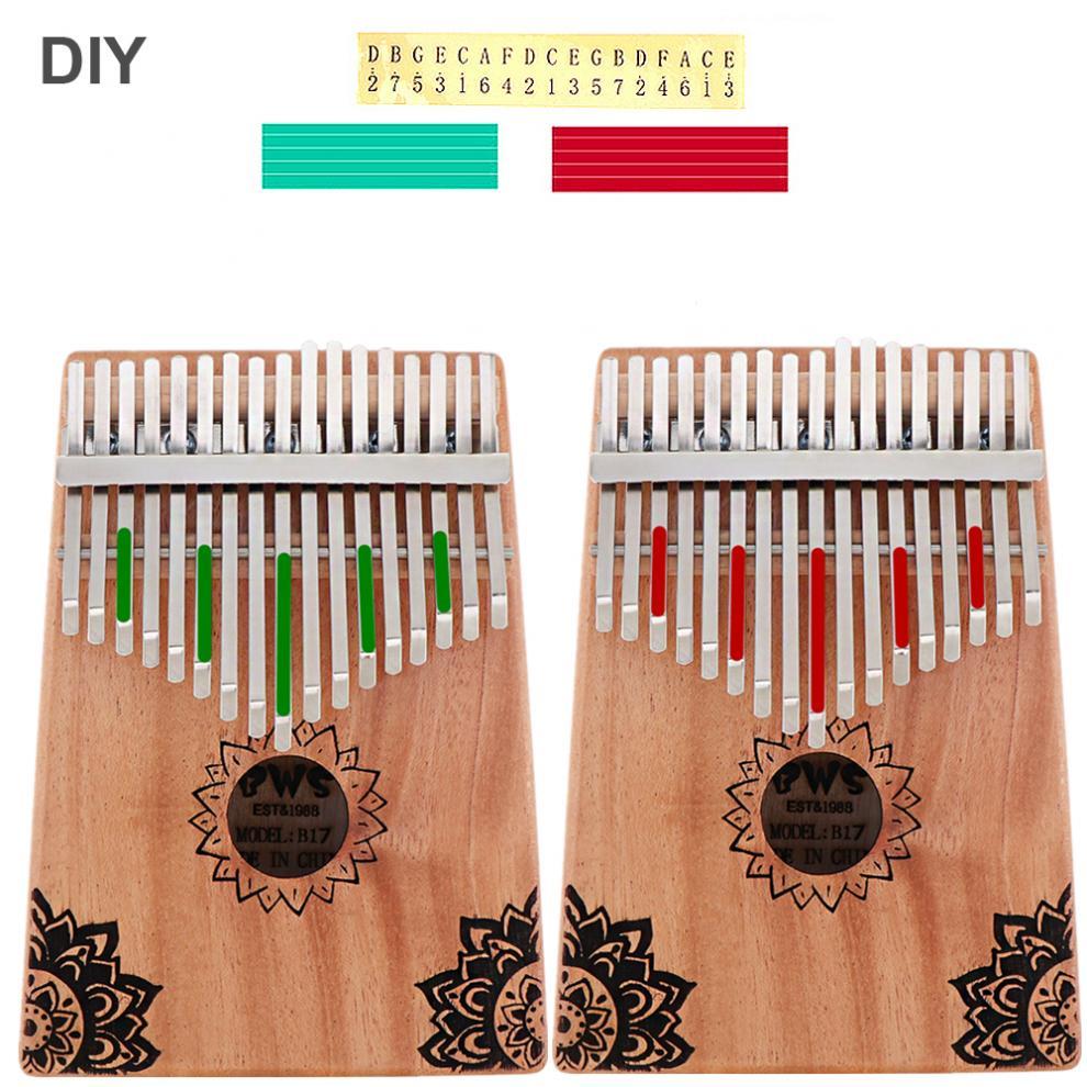 17-Key-Kalimba-Thumb-Piano-Mbira-Mahogany-Mini-Keyboard-Instrument-with-Flowers thumbnail 5