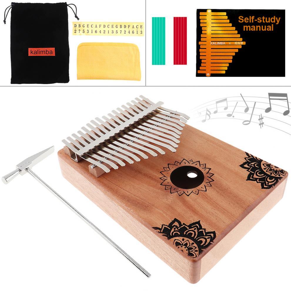 17-Key-Kalimba-Thumb-Piano-Mbira-Mahogany-Mini-Keyboard-Instrument-with-Flowers